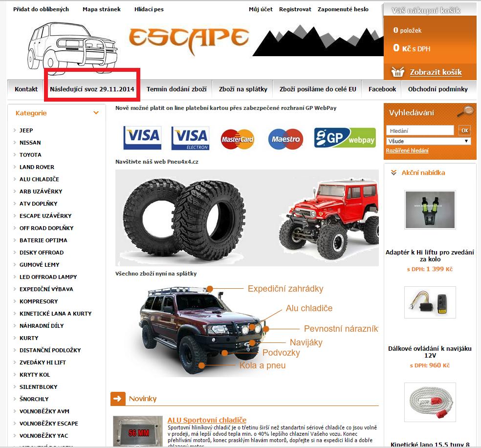 Termín dovozu zboží Escape4x4.cz